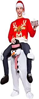 Christmas Carry Ride On Snowman Mascot Costume White