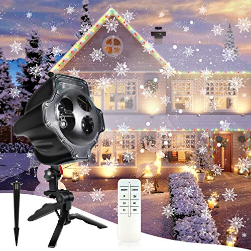 Kithouse Christmas Projector Lights Outdoor Indoor Snowfall Lights Christmas Light Projector Snowflake Lights Xmas Lights LED Waterproof with Wireless Remote for Christmas Xmas Holiday