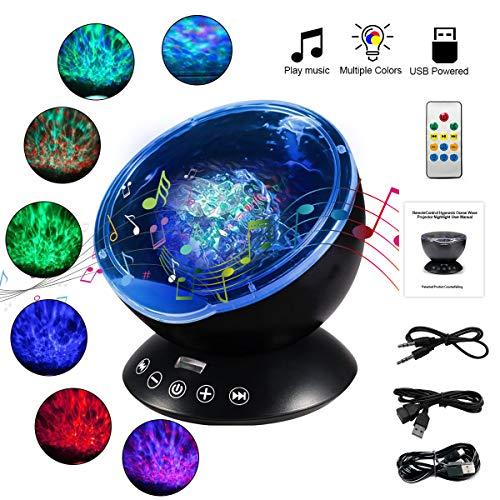 WOWDSGN Projektor Lampe Ozeanwellen Stimmungslicht mit Polarlicht Effekten Fernbedienung Lautsprecher Ideal für Kinder Schlafzimmer Wohnzimmer Party