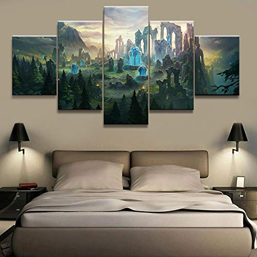 Chihie HD Decoración del hogar Lienzo Pintura 5 Piezas League of Legends Imágenes Impresiones de Arte de la Pared Modular Modern Game Poster For Boy Room 25x38cm-2p 25x50cm-2p 25x63cm-1p Sin Marco
