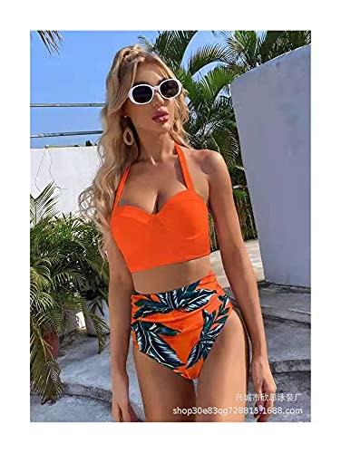 XBSXP Bikini Set Traje de baño Split Cintura Alta Hojas Multicolores Hoja Impresa con Aros Traje de baño para Mujer Traje de baño Swim (Color: Orange, Size: S)