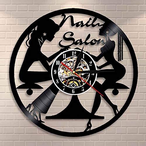 Tbqevc Salón de Belleza Disco de Vinilo Reloj de Pared diseño Nail Beauty Studio Letras Arte Colgante Mejor Regalo para la Familia 12 Pulgadas