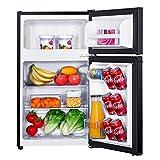 Mini Fridge, TACKLIFE 3.1 Cu.Ft Small Refrigerator with Freezer, 2 Doors, LED Light, 7 Adjustable Thermostat Control, Compact Refrigerator for Bedroom, Office, Dorm, RV, Garage, Black - HPBFR310