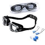 riptide Schwimmbrille - Taucherbrille ohne Nase in schwarz I mit Ohrenstöpsel und Nasenklammer I...