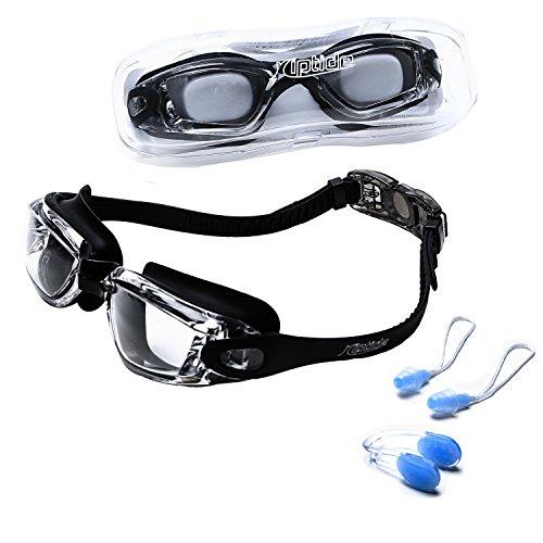 riptide Schwimmbrille - Taucherbrille ohne Nase in schwarz I mit Ohrenstöpsel und Nasenklammer I Chlorbrille mit Verschluß für Erwachsene und Jugendliche