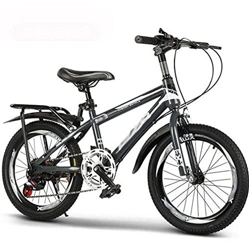 HUAQINEI Bicicleta, Velocidad Variable, niño de Mediana Edad, 18 Pulgadas, 20 Pulgadas, 22 Pulgadas, Bicicleta, 7-8-9-10-12-15 años, Bicicleta de montaña, Gris, 24