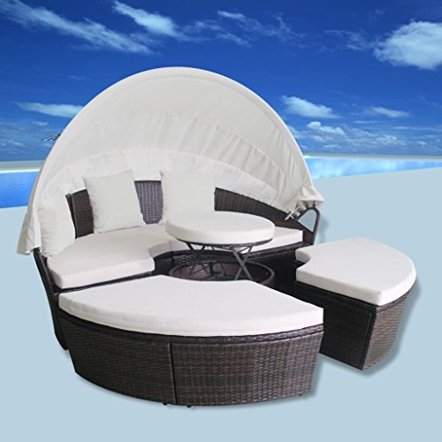 H.BETTER Round Daybed with Canopy 2-in-1 Sun Lounger with Cushions Outdoor Bed Poly Rattan Brown Pool Patio Sunbed