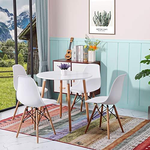 H.J WeDoo Esstisch mit 4 Stühlen Runder Esstisch Retro Design Küchentisch und Moderner Stuhl für Esszimmer Küche Wohnzimmer, Weiß