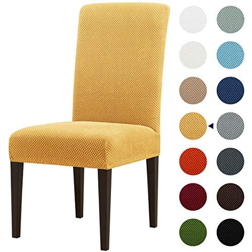 subrtex Jacquard Dining Room Chair Slipcovers Sets Stretch Furniture Protector Covers for Armchair Removable Washable Elastic Parsons Seat Case for Restaurant Hotel Ceremony (4, Beige Jacquard)