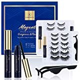 12 Pairs Reusable Magnetic Eyelashes and 3 Tubes of Magnetic Eyeliner Kit, Upgraded 3D Magnetic Eyelashes Kit With Tweezers Inside, Easier To Use Than Traditional Magnetic Eyelashes - No Glue Needed