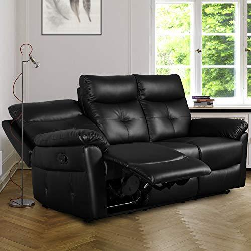 DADEA Juego de sofás reclinables de piel sintética de 3 plazas, con sillón reclinable para sala de estar, oficina, sala de estudio u otra habitación.