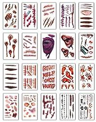 Ofertas Tienda de maquillaje: Especificaciones: 10.5 x 6cm Color: como muestra la imagen Paquete que incluye: 20 PCS heridas patrones de cicatriz pegatinas para Halloween.Estilo A: cada pieza es diferente.Estilo B: 2 PCS cada uno Traje de maquillaje de Halloween, heridas realista...