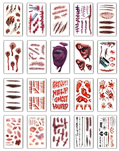 Tuopuda 20 hojas Halloween Zombie Cicatrices Tatuajes Pegatinas con Falso Scab Sangre Especial Fx Costume Maquillaje Props Tatuajes Temporales (20 patrones diferentes*1)