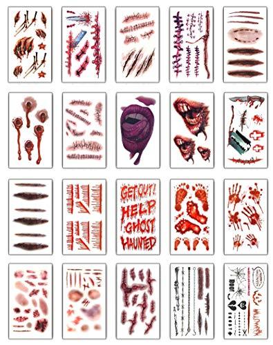 Halloween Tatuajes(20 hojas), UMIPUBO Tatuajes Temporales Zombie Cicatrices Tatuajes Pegatinas con Falso Scab Sangre Especial Fx Costume Maquillaje Props (A)