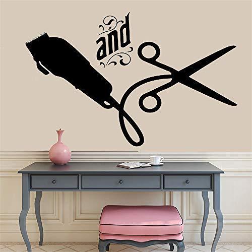 Tianpengyuanshuai Friseur Wandtattoo Friseur Werkzeuge Schere Friseur Schönheitssalon Friseur Shop Logo Dekoration 57X36cm