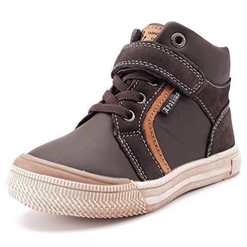 Ahannie Zapatillas CláSicos de Cuero para Niños, Zapatillas Altas con Correa Ajustable para Niños (Color : Brown, Size : 27 EU)