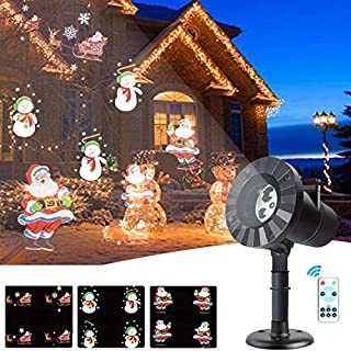 Christmas Lights Projector - 3 Patterns LED Projector Lights Waterproof Dynamic Outdoor Christmas Lights Spotlights Decoration for Christmas, Yard Garden Decoration Party, Valentine's Day,Holiday Dec