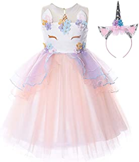 89e5640c7e5 Solike Robe de Soirée Enfant Fille Costume Licorne Robe Florale Princesse  Tutu Jupe Canaval Déguisement de