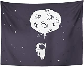 399d491ba Emvency Tapestry Wall Hanging Baby Little Astronaut Flies and Keeps for Moon  Who Like Balloon in