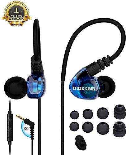 Running Sports Earbud-Kopfhörer mit Kabel über das Ohr In-Ear-Headsets Geräuschisolierung wasserdichte Ohrhörer Verbesserte Bass-Stereo-Kopfhörer mit Mikrofon und Fernbedienung