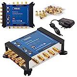 Anadol Gold Line Multiswitch 5/8 per satellite multiswitch per 1 satellite, 8 uscite/ricevitore, distributore satellitare, alimentatore esterno, multiswitch 13 connettori F dorati