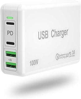 みさき PD充電器 100W Type-C急速充電器 PD対応 USB充電器 ACアダプター 4ポート USB-C×2 + USB-A×2 MacBook Pro/Air、iPhone 11/11 Pro/11 Pro Max/XS、Galax...