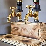 lingyagaofeng 2021 Whisky Wood Dispenser - Festa del papà Doppio/Triplo Liquore Alcol Whisky Dispenser in Legno Rubinetto Forma Versatore per Party Dinner Bar e Bevande Station (Doppio)