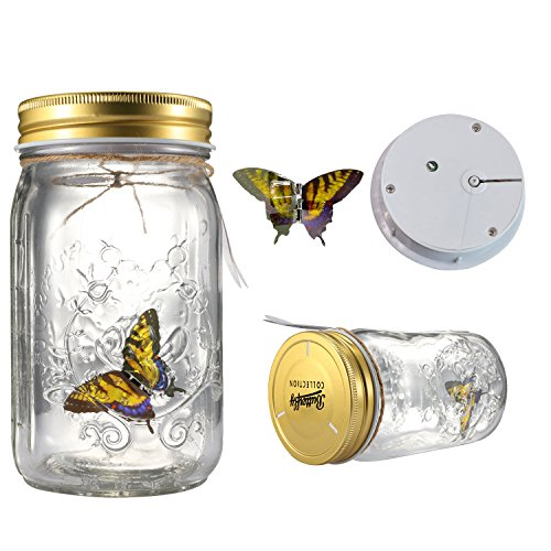Fangfang LED Lamp Romantic Glass Animated Butterfly Jar Gift Decoration (Yellow)