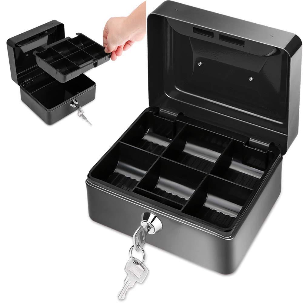 TopHGC Pequeña Caja de Dinero de Metal, Caja de Efectivo de Metal 6 Compartimentos Hucha con Bandeja de Dinero de 2 Llaves (Negro): Amazon.es: Hogar
