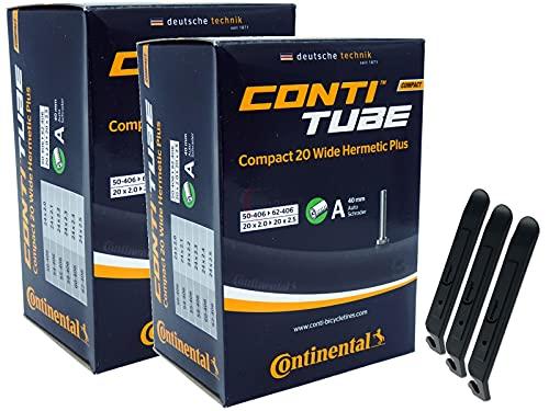 pneugo! Continental 50-406/62-406 Compact Hermetic Plus Wide - Juego de 2 cámaras de aire para bicicleta (20', válvula para coche, 50-406/62-406) + 3 desmontadores
