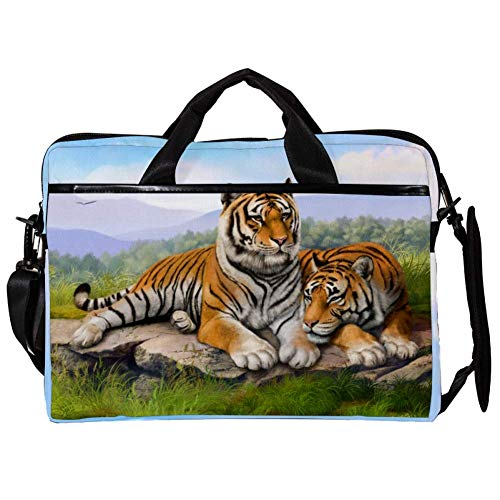 Painting Tigers Grass Stones Laptop Case Shoulder Bag for Notebook Computer Tablet with Adjustable Shoulder Strap Canvas Messenger Carrying Briefcase Handbag Sleeve for Woman,Man 15x11x1inch