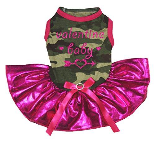 Petitebelle Puppy Vêtements Valentine bébé Camouflage Top Bling Rose vif Tutu