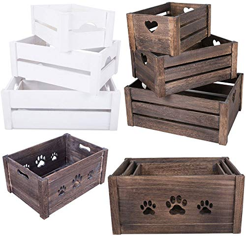 Lucg Dog Toys Chest Storage Collection Box Wooden Crates Gift Hampers, Rustic Wooden Nesting Crates, Gift Basket, Planter, Storage Bin, Table Centerpiece(Paw Shaped, Set of 3, S+M+L)