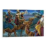 HGFDJ Póster de fondo navideño de la Sagrada Familia y Tres Reyes Magos, cuadro decorativo de pared, arte de pared para sala de estar, dormitorio, 30 x 45 cm