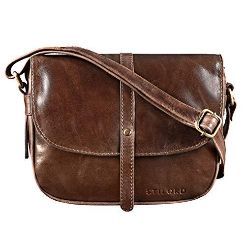 STILORD \'Clara\' Kleine Umhängetasche Frauen Leder Vintage Handtasche zum Ausgehen Klassische Abendtasche Partytasche Freizeittasche Echtleder, Farbe:antik - braun