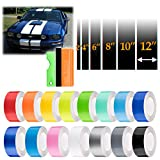 EZAUTOWRAP Free Tool Kit 12' Wide 20FT Long Gloss Glossy Red Racing Stripes Vinyl Wrap Rally Decals Stripe Sticker