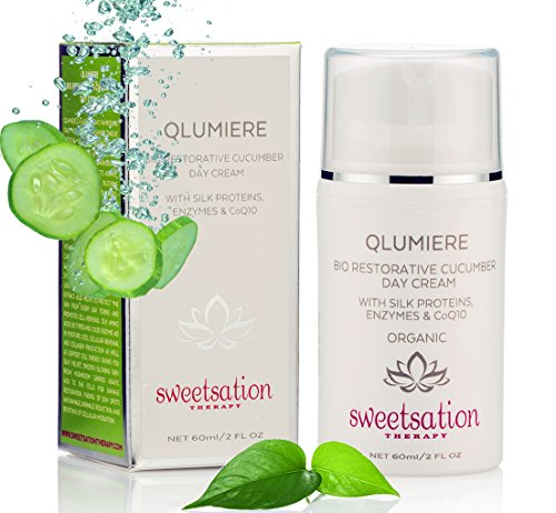 Sweetsation Therapy QLumiere Bio-Restorative Cucumber Day Cream with Silk Amino Acids, Hyaluronic Acid, Enzymes, Antioxidants, Spirulina Sea Kelp, Caviar, CoQ10, 2oz. Hydrating Soothing Protecting.