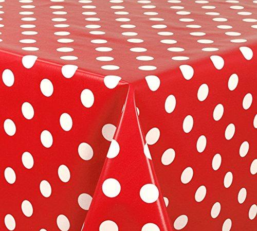 Wachstuchtischdecke Tischdecke Wachstuch abwischbar, Glatte Oberfläche Punkte Motiv Rot, Farbe + Größe wählbar 140x140 cm