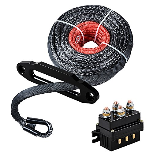 Great Price! Astra Depot Set 95' x 3/8 Synthetic Winch Rope Cable Protective Sleeve + 10 Black Haws...