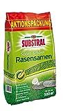 Substral Rasensamen Sport und Spiel, Schnell keimende strapazierfähige Rasensaat-Mischung mit Grünfärbung gegen Vogelfraß, 10 kg für 500 m²