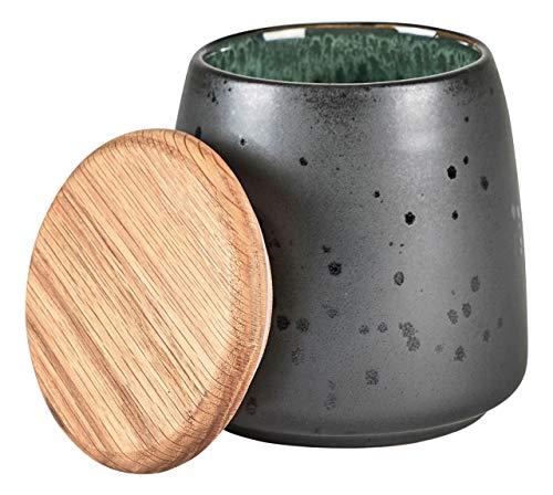 BITZ Steingut zweifarbig schwarz Dose Höhe 12 cm schwarz, grün, holznatur