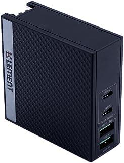 PD充電器 エレメント Type-C急速充電器 100W/世界最小最軽量クラス/GaN(窒化ガリウム)採用/4ポート(USB-C x2+USB-A x2)/PD3.0対応/折りたたみ式/PSE認証済/iPhone/iPad/Android/Ma...