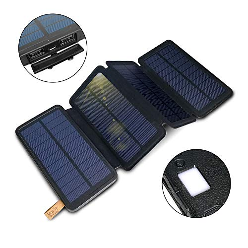 Solar Charger 12000mAh,Solar Power Bank Portable Waterproof Foldable Camping Travel Charger with 4 Solar Panels,Fast Charge Pack with 2 USB Ports Compatible with Smartphones,Tablets and More
