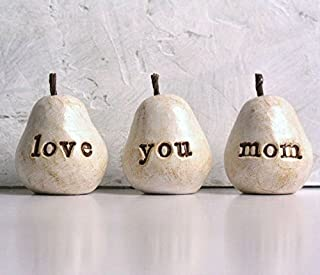 Gift for Mom, Love You Mom Pears, Gift for Christmas or Birthday, Perfect Present for your Mother, set of 3