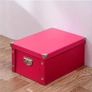 AQGELSNX Boîte de Rangement Pliante en Papier Livre boîte de Rangement pour vêtements boîte de Rangement Couverte @ Red_30...