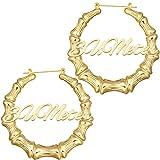 Custom Name Earrings Personalized Bamboo Hoop Earrings Gold Plated Bamboo Earrings for Women & Girls Fashion Jewelry Gift (90, Round Bamboo)