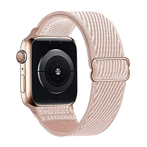 Lobnhot Solo Loop kompatibel mit Apple Watch Armband 38mm 40mm, verstellbares elastisches Nylon Armband für iWatch Series 6/5/4/3/2/1 SE (38/40MM- Rosa Pink)