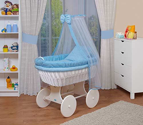 WALDIN Baby Stubenwagen-Set mit Ausstattung,XXL,Bollerwagen,komplett,18 Modelle wählbar,Gestell/Räder weiß lackiert,Stoffe blau/kariert