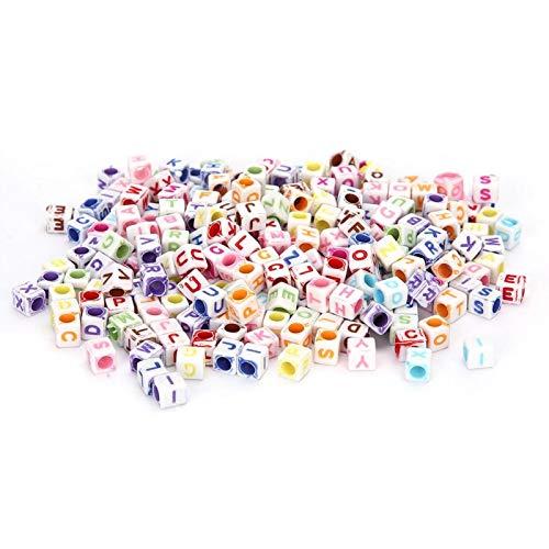 Cuentas de acrílico, accesorio de pulsera, fácil de usar, material de bricolaje, cuentas de letras cuadradas, pulsera artesanal, accesorio de bricolaje para decoración(color)