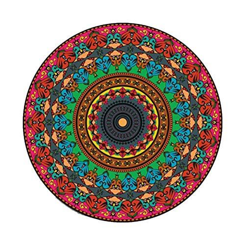 Siunwdiy Plüsch weiche rutschfeste Matten weich Datura Blumen runden Teppich Retro geeignet für Wohnzimmer Studie Schlafzimmer,D,Diamètre80cm
